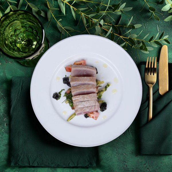 romantic date night meals tuna loin steak on green tablecloth
